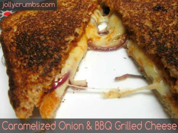 Caramelized Onion & BBQ Grilled Cheese | jollycrumbs.com