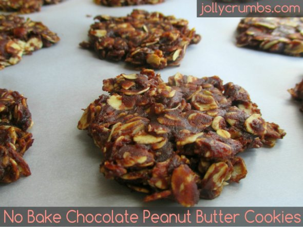 No Bake Chocolate Peanut Butter Cookies | jollycrumbs.com