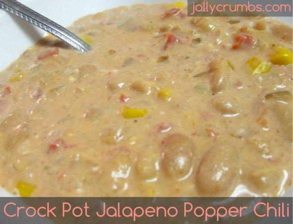 Crockpot Jalapeño Popper Chili | jollycrumbs.com