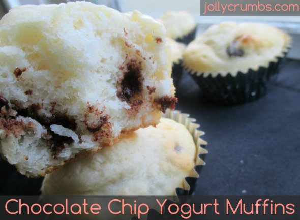 Chocolate Chip Yogurt Muffins | jollycrumbs.com