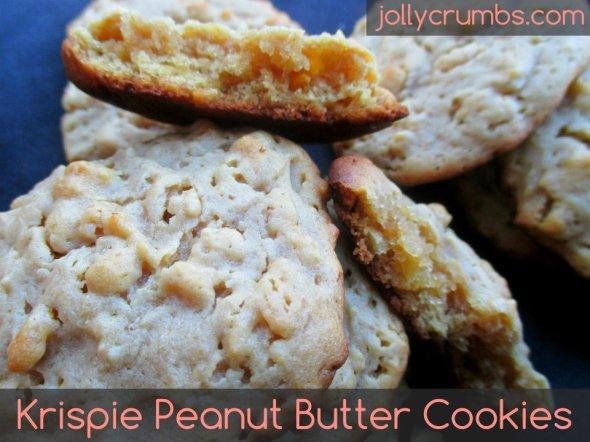 Krispie Peanut Butter Cookies | jollycrumbs.com